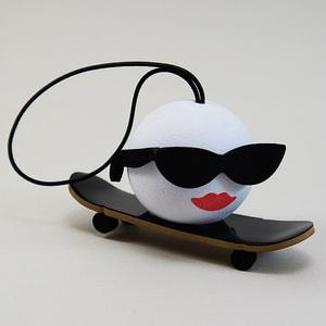 スケーター アンテナボール アンテナトッパー スケボー 女の子 スカル カスタム 車 目印 USA アメ雑 【メール便OK】