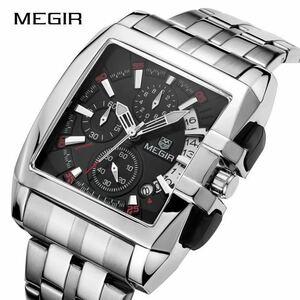 ◆ 1円 Megir メンズ 高級腕時計 ビジネス ステンレス鋼 クォーツ腕時計 男性 レロジオ メンズウォッチ masculino ケース付 1310