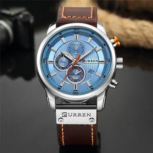 特価!◆ 腕時計 メンズ CURREN 海外ブランド 高級 クロノグラフ ウォッチ 防水 クォーツ時計 レザーバンド シルバーブルー 1405