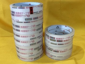 ♪♪A【即決SALE】ほぼ未使用 3M Scotch 超透明テープS 16点セット 1.8mm/1.2mm セロテープ 文房具 現状品♪♪