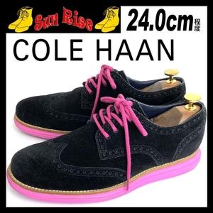 即決 COLE HAAN LUNARGRAND コールハーン ルナグランド メンズ 24cm程度 6.5 本革 レザー スエード ウイングチップ 黒 ブラック 革靴 中古