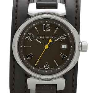 ルイ・ヴィトン Louis Vuitton タンブール トリプル コイルド Q1211 腕時計 SS レザー ブラウン レディース 【中古】