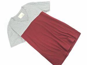 ネコポスOK daboro ダボロ Vネック 切替 Tシャツ size3/赤xグレー ■◆ ☆ bfb8