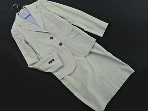 BEAMS ビームス EFFE ウール100% ストライプ セットアップ ジャケット スカート スーツ size38/グレー ■■ ☆ bfc3