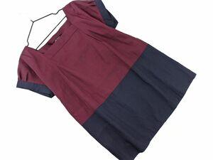 ネコポスOK 23区 スクエアネック ブラウス シャツ size32/紫 ■◆ ☆ bfc5