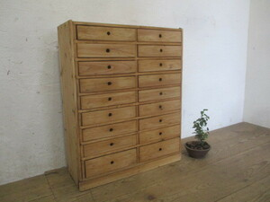タO787◆H78cm×W63cm◆引き出し18杯◆ナチュラルな木味の古い木製収納棚◆書類ケースサイドテーブル飾り棚J町