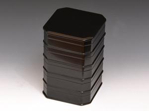 山中塗 黒縁高重 真塗縁高 五段重 茶道具 菓子器 重箱 高さ約25㎝ 天然木 木工芸 漆芸 漆工芸 漆器 z0891e