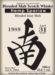 ヘンプスパロー ブレンデッドアイラ 31年 1989 シェリーバット 700ml 43.6% 南ラベル ラフロイグ ボウモア