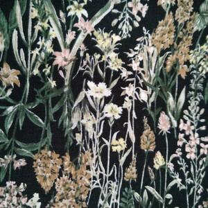 ☆生地 綿100 小花柄 黒地 生地巾 112cm×100cm