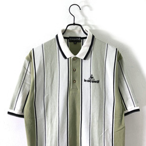 GOODカラー!!◆le coq sportif GOLF ルコック ゴルフ ロゴ刺繍 ストライプ 半袖 ポロシャツ M サイズ /メンズ スポーツ デサント
