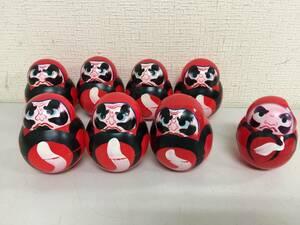 昭和レトロ セルロイド 達磨 8個セット 起き上がりこぼし 郷土玩具 9.5cm 8.5cm おもちゃ屋さん 蔵出し 当時物   B2.3
