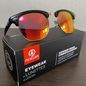 新品未使用♪kdeam最新偏光レンズサングラス ウェリントンレッド即購入可