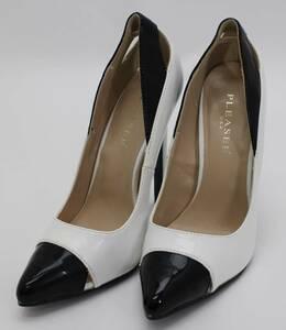 Pleaser プリーザー エナメル パンプス ピンヒール 表記サイズ6 中古 ホワイト ブラック 靴 シューズ