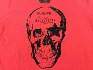 WISDOM THE GLAPHIC LABO[960] ロック お兄系 スカル 起毛プリント Vネック 半袖Tシャツ メンズ 綿混合 L 赤