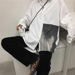 シャツ ビッグシルエット 長袖 アウター モノトーン モード 白 ホワイト トップス メンズ レディース シンプル 原宿系 韓国系 L