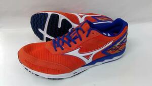 処分 MIZUNOミズノ マラソンシューズ ウエーブクルーズ13 U1GD186054 54 オレンジ×ブルー 26.5cm 22427