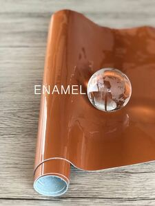 p031 本革 COW エナメル オレンジ 艶 レザークラフト