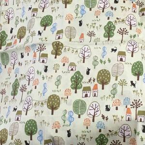 シーチング 猫と森 淡い緑地 110×50センチ 生地