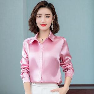 新作 上質ブラウス レディース オフィス 通勤 つるつる サテン 長袖 ブラウスシャツ ピンク