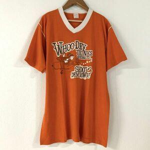 美品 希少 80's sports wear ヴィンテージ スポーツウエア 虎飛行機 デザイン良過ぎ tシャツ メンズ Lサイズ オレンジ