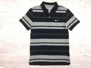 ナイキ NIKE ボーダー ロゴ刺繍 半袖ポロシャツ メンズ コットン100% M 黒 グレー