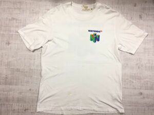 H&M L.O.G.G. エイチアンドエム ログ × NINTENDO64 ニンテンドー64 任天堂 ロクヨン 半袖Tシャツ メンズ コットン100% XL 白