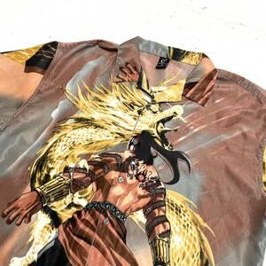 CLAUDIO NUCCI 総柄 シャツ XLサイズ 半袖 オープンカラー 開襟 ドラゴン 龍 タトゥー 入れ墨 アメリカ古着 USA アニメ 漫画 VINTAGE