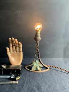 フランス 19世紀 スタンド 照明 アール・ヌーヴォー デスク アイアン 鉄 ソケット B22D シェード ライト ランプ 布撚りコード アンティーク