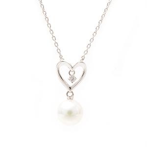 ミキモト 7.4mm パール ダイヤモンド オープンハート ネックレス ホワイトゴールド MIKIMOTO K18WG【中古】