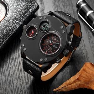 【激安価格】 腕時計 メンズ Oulm 海外ブランド クオーツ スチームパンク 防水 レザーバンド 選べる4色 2タイムゾーン