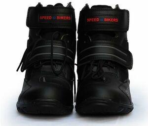 新品!レーシングブーツ メンズ バイク用靴 ツーリング ライディングシューズ オートバイマジックテープ式 ブラック 40サイズ/250mm