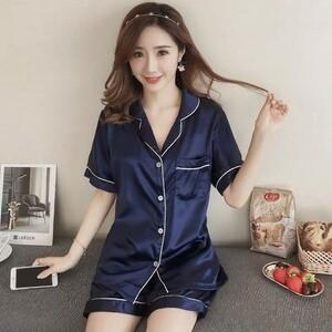 【XXL/ブルー】シャツパジャマ セットアップ 半袖 シルクタッチ 涼感 ルームウェア 前開き ナイティ ショートパンツ