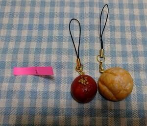 【ハンドメイド】ミニチュアフード 樹脂粘土 メロンパン あんぱん ストラップ (2)