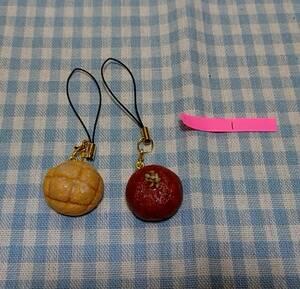 【ハンドメイド】ミニチュアフード 樹脂粘土 メロンパン あんぱん ストラップ (1)