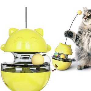 猫犬おもちゃ 猫ボール おやつボール 自動回転 タンブラー ク漏れ食品ボール 餌入れ食器 一人遊び 緑色