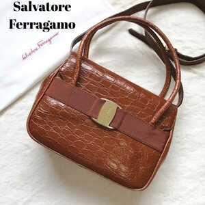 Salvatore Ferragamo サルヴァトーレフェラガモ ショルダーバッグ ハンドバッグ 2way クロコ型押し ヴァラリボン レザー ガンチーニ