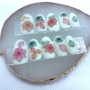 ネイルチップ 付け爪 ネイルアート 白 花柄 カラフル