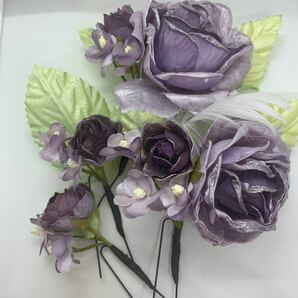 卒業式 入学式 コサージュ Uピン ヘアアクセサリー 紫 パープル 薔薇 バラ