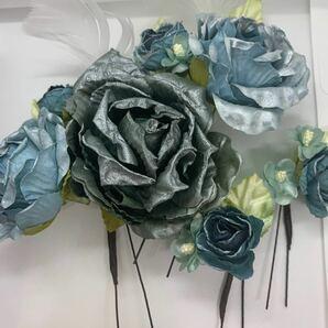 コサージュ 髪飾り Uピン 薔薇 バラ ブルー 青 ヘアアクセサリー