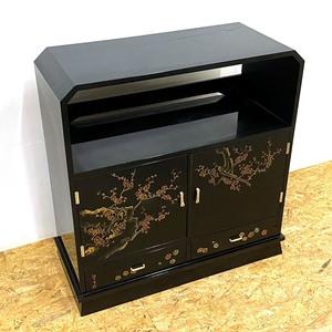 松月作 飾り棚 茶棚 漆塗り 蒔絵 輪島塗 /SL2
