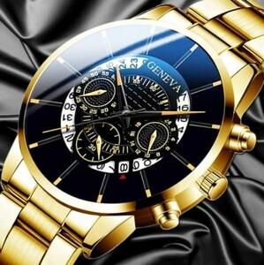 R004 ジュネーブ ファッション メンズ腕時計 高級クォーツ 男性 日付 カジュアル ゴールド 鋼 レロジオ masculino montre 2021