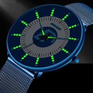 R009 2021 ファッション メンズ腕時計 超薄型 ビジネス 発光 クラシック ステンレス鋼 メッシュベルト クォーツ時計 レロジオ masculino