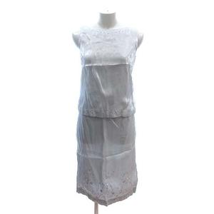 クミキョク 組曲 PRIER セットアップ 上下 ブラウス ノースリーブ タイトスカート ひざ丈 サテン 刺繍 ストーン 2 グレー レディース