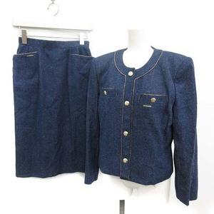 レオナール LEONARD セットアップ上下 スーツ シルクデニム ビンテージ ジャケット スカート 膝丈 9 M 紺 ネイビー /NM ■EC