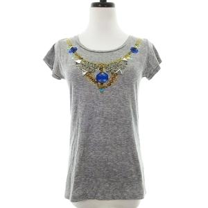 アイシービー iCB Lulu FROST for Tシャツ カットソー 半袖 クルーネック コットン 薄手 プリント グレー トップス /MO レディース