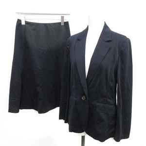 ジェイプレス J.PRESS 19AW スーツ上下 セットアップ テーラードジャケット スカート フレア 膝丈 9 M 7 S 紺 ネイビー /NM レディース