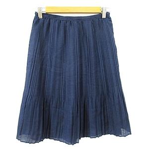 ビームスハート BEAMS HEART スカート プリーツ ひざ丈 1 紺 ネイビー /AAM37 レディース