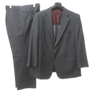 中古 高島屋 スキャバル地 Scabal セットアップ スーツ ストライプ ペイズリー裏地 モヘア混 グレー 赤 約XL 0615 STK メンズ