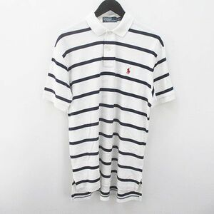 中古 ポロ バイ ラルフローレン Polo by Ralph Lauren 半袖 ボーダー ポロシャツ S 白系 ホワイト 綿 コットン ワンポイント メンズ
