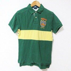 未使用品 ポロ バイ ラルフローレン Polo by Ralph Lauren タグ付き ポロシャツ 半袖 刺繍 コットン 緑 黄 グリーン イエロー S メンズ
